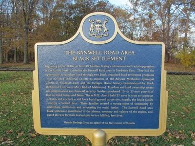 The Banwell Road Area Black Settlement Marker image. Click for full size.