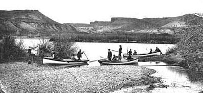 The 1871 Colorado River Expedition read to depart. image. Click for full size.