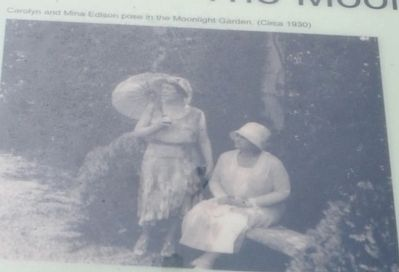 Carolyn and Mina Edison pose in the Moonlight Garden (Circa 1930) image. Click for full size.