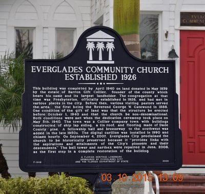 Everglades Community Church Marker image. Click for full size.