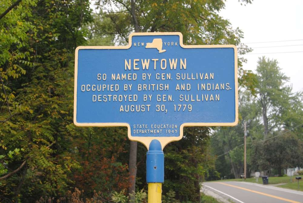 Newtown Marker<br>Current Location Near Entrance to Newtown Battlefield State Park