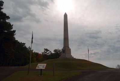 Newtown Battlefield Reservation Marker<br>Battle Monument in Background image. Click for full size.