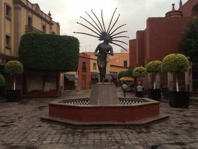 Concheros statue and fountain. image. Click for full size.