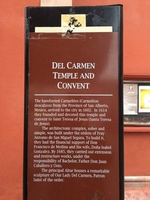 Del Carmen Temple and Convent Marker image. Click for full size.