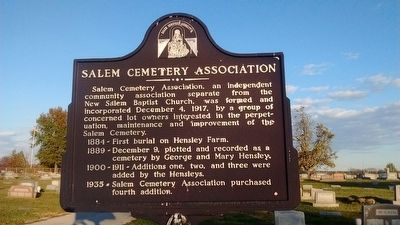 Salem Cemetery Association Marker image. Click for full size.