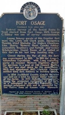 Fort Osage Marker - Side 2 image. Click for full size.