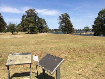 View of markers looking towards Lake Chicot. image. Click for full size.