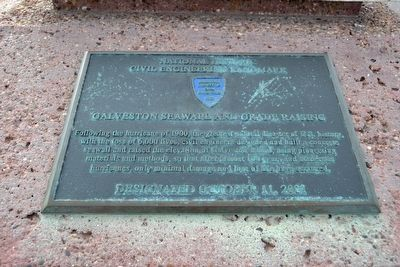 Inscription Plate of<br>Galveston Seawall and Grade Raising Marker image. Click for full size.