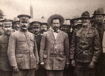 Álvaro Obregón, Pancho Villa, John Pershing and other military members. image. Click for full size.