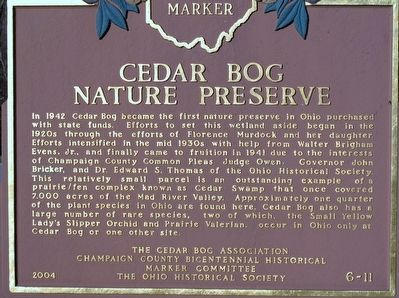 Cedar Bog Nature Preserve Marker image. Click for full size.