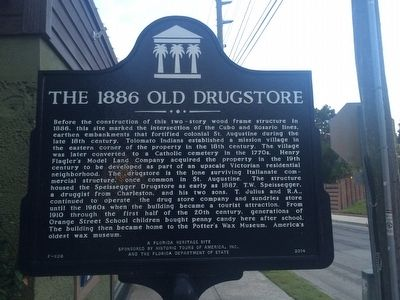 The 1886 Old drugstore Marker Close up image. Click for full size.