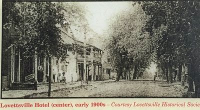 Lovettsville Hotel (center), early 1900s image. Click for full size.