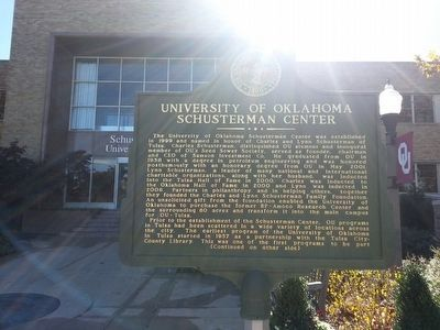 University of Oklahoma Schusterman Center Marker (side 1) image. Click for full size.