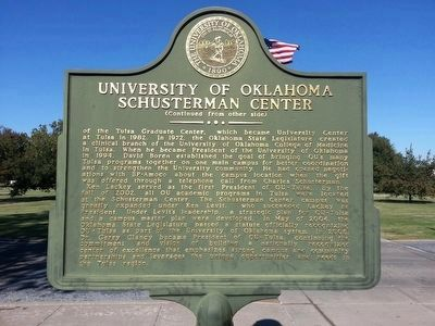 University of Oklahoma Schusterman Center Marker (side 2) image. Click for full size.