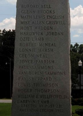 Glascock County Veterans Monument - List of Names image. Click for full size.