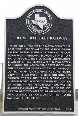 Fort Worth Belt Railway Texas Historical Marker image. Click for full size.