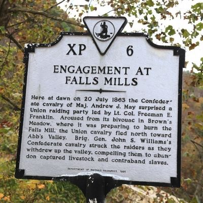 Engagement at Falls Mills Marker image. Click for full size.