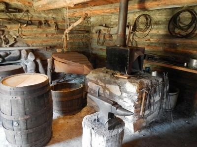 Fort Bridger blacksmith shop (reconstructed) image. Click for full size.