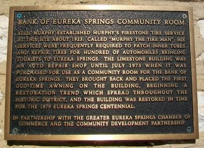 Bank of Eureka Springs Community Room Marker image. Click for full size.