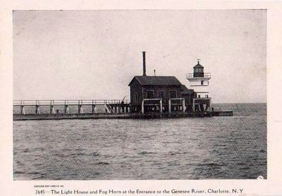 <i>The Light House and Fog Horn at the Entrance to the Genesee River, Charlotte, N.Y.</i> image. Click for full size.