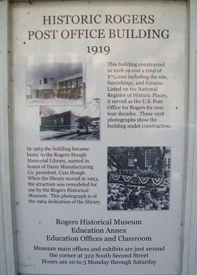 Historic Rogers Post Office Building Marker image. Click for full size.