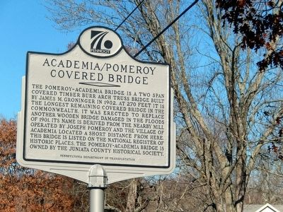Academia/Pomeroy Covered Bridge Marker image. Click for full size.