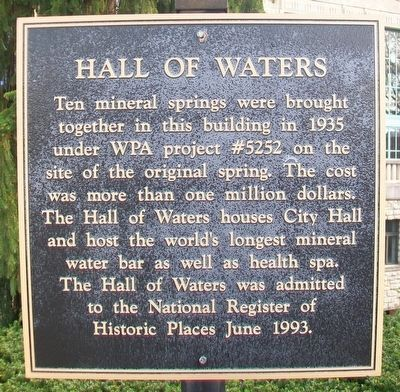 Hall of Waters Marker image. Click for full size.