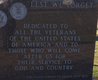 Stratford Veterans Memorial Marker image. Click for full size.