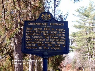 Greenwood Furnace Historical Marker image. Click for full size.