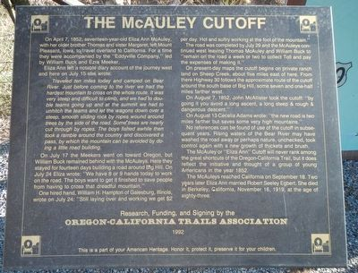 The McAuley Cutoff Marker image. Click for full size.