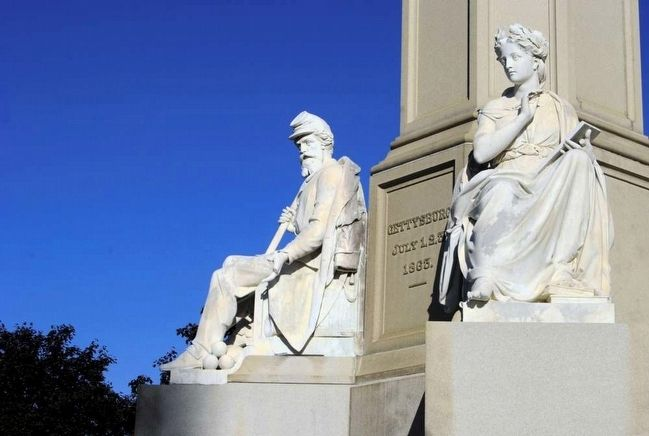 Soldier's National Monument<br>Statues of War (left) and History (right) image. Click for full size.