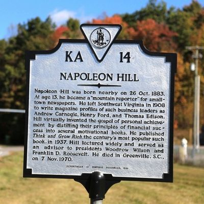 Napoleon Hill Marker image. Click for full size.