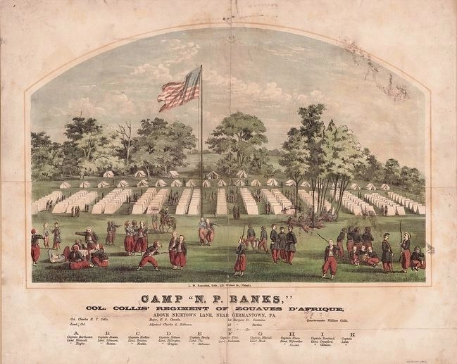 "<i>Camp ""N. P. Banks,"" Col. Collis&#39; regiment of Zouaves d&#39;Afrique Above Nicetown Lane...<i> image. Click for full size."
