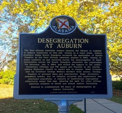 Desegregation at Auburn Marker image. Click for full size.