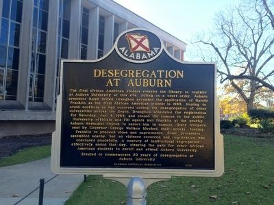 View of marker on north side of the Ralph Brown Draughon Library. image. Click for full size.