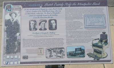 Butch Cassidy Robs the Montpelier Bank Marker image. Click for full size.