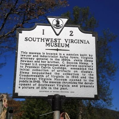 Southwest Virginia Museum Marker image. Click for full size.