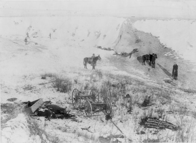 <i>Birds-eye View of Canyon at Wounded Knee, S.D.</i> image. Click for full size.