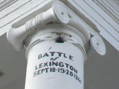 Cannonball in Lafayette County Courthouse Column image. Click for full size.