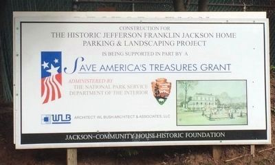 The Jackson-Community House Renovation sign. image. Click for full size.
