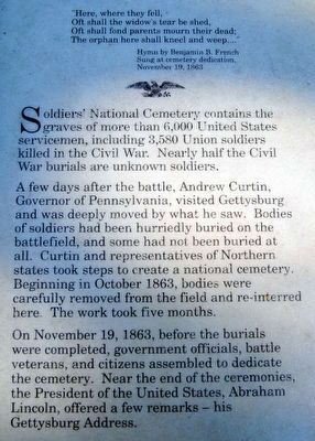 Soldiers' National Cemetery Marker<br>Main Text image. Click for full size.