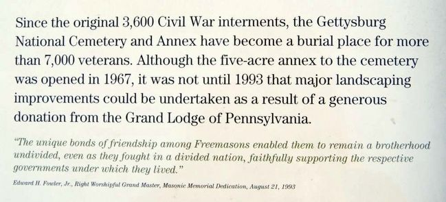 Continuing a Tradition: Freemasonry at Gettysburg Marker<br>Main Text 2 image. Click for full size.
