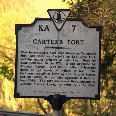 Carter's Fort Marker image. Click for full size.