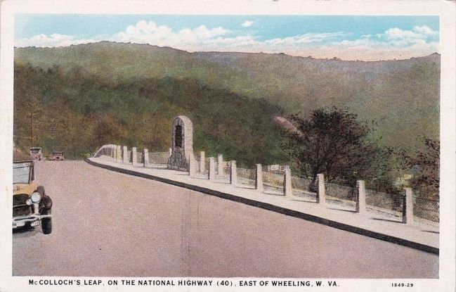 <i>McColloch's Leap, on the National Highway (40), East of Wheeling, W. Va.</i> image. Click for full size.