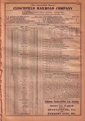 Clinchfield December 1925 Timetable image. Click for full size.