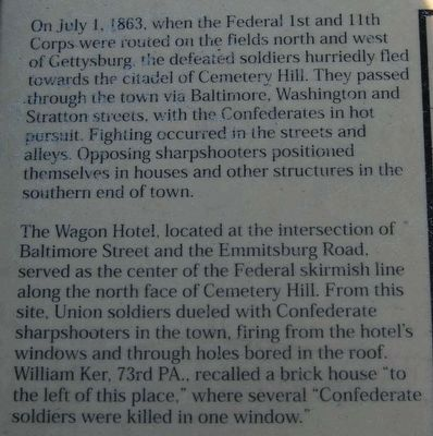 The Wagon Hotel on Cemetery Hill Marker<br>Main Text image. Click for full size.