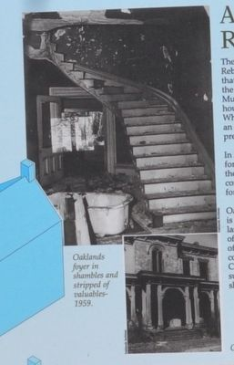 Oaklands foyer in shambles and stripped of valuables 1959 image. Click for full size.