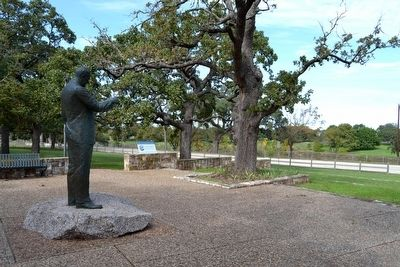 Statue Pointing Towards the Pedernales River image. Click for full size.