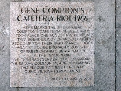 Gene Compton's Cafeteria Riot 1966 Marker image. Click for full size.