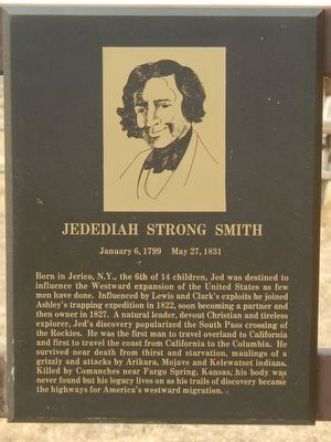 Jedediah Strong Smith plaque image. Click for full size.